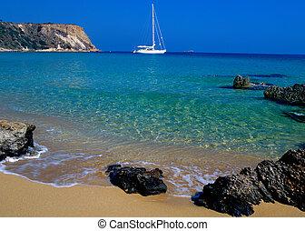 Sail boat off the coast of Zante, Zakynthos greece