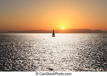 sail boat on a sunset