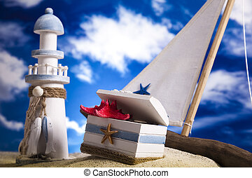 Sail boat on beach Background
