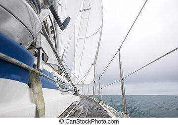 Sail Boat Sailing In Sea