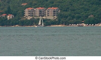 Sail boat sailing next to a bushy shoreline with buildings