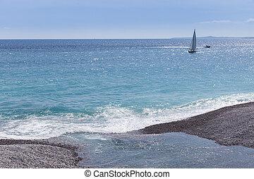 Sail boat sailing on the Mediterranean Sea  at Nice