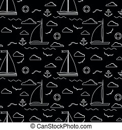 Sail boat seamless pattern in line art style.