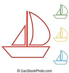 Sail Boat. Set of line icons