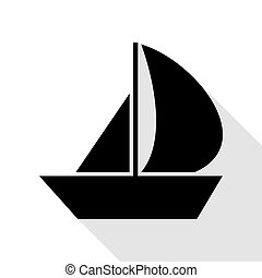 Sail Boat sign. Black icon with flat style shadow path.
