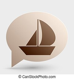 Sail Boat sign. Brown gradient icon on bubble with shadow.