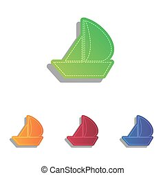 Sail Boat sign. Colorfull applique icons set.