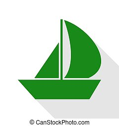 Sail Boat sign. Green icon with flat style shadow path.