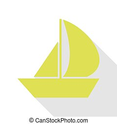 Sail Boat sign. Pear icon with flat style shadow path.