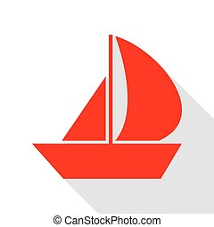 Sail Boat sign. Red icon with flat style shadow path.