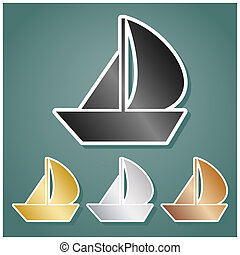 Sail Boat sign. Set of metallic Icons with gray, gold, silver and bronze gradient with white contour and shadow at viridan background. Illustration.