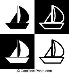 Sail Boat sign. Vector. Black and white icons and line icon on chess board.