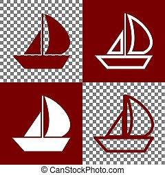 Sail Boat sign. Vector. Bordo and white icons and line icons on chess board with transparent background.