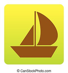 Sail Boat sign. Vector. Brown icon at green-yellow gradient square with rounded corners on white background. Isolated.