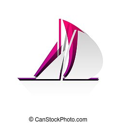 Sail Boat sign. Vector. Detachable paper with shadow at underlyi