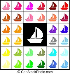 Sail Boat sign. Vector. Felt-pen 33 colorful icons at white and black backgrounds. Colorfull.