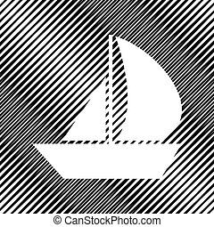 Sail Boat sign. Vector. Icon. Hole in moire background.