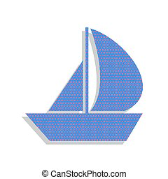Sail Boat sign. Vector. Neon blue icon with cyclamen polka dots