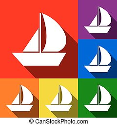 Sail Boat sign. Vector. Set of icons with flat shadows at red, orange, yellow, green, blue and violet background.