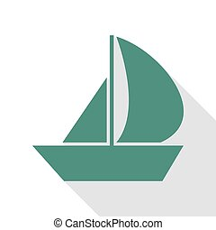 Sail Boat sign. Veridian icon with flat style shadow path.