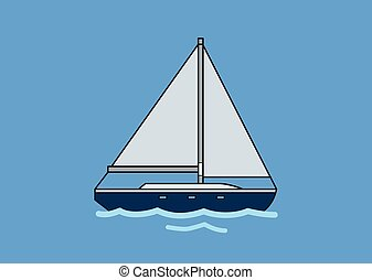 Sail boat, skipjack. Flat vector illustration. Isolated on blue background.