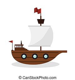 sail boat toy isolated icon