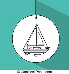 sail boat transport icon