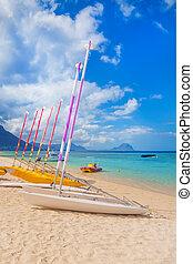 Sail boats at the Wolmar beach. Mauritius