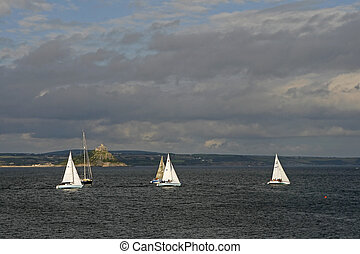 Sail boats near Penzance, Cornwall, Southwest England, UK