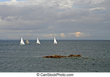 Sail boats near Penzance, Cornwall, UK