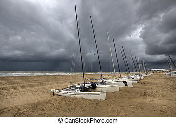 Sail boats on the Beach