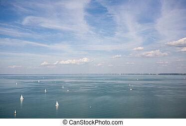 Sail boats on the horizon.