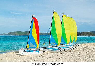 Sail Boats on Tropical Beach