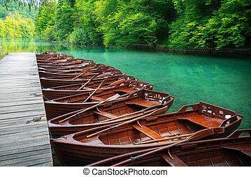 Sail boats parking in Plitvice Lakes Croatia.