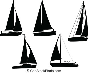 Sail boats silhouette - vector