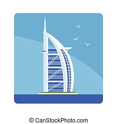 Sail Hotel Famous Touristic Attraction Of United Arab Emirates. Traditional Tourism Symbol Of Arabic Country