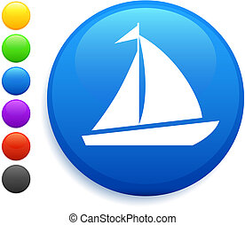 sail icon on round internet button original vector illustration 6 color versions included
