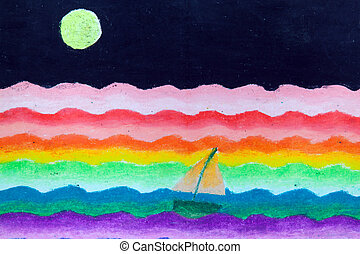 sail in sea and moon free hand drawing