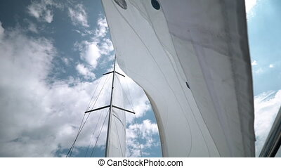 Sail into which the wind blows. Yacht on the go. Slowmotion