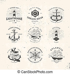 sail logo set - Set of Vintage Nautical Typographical Logos
