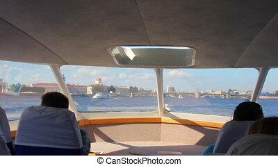 sail on Neva River in passenger boat - St. Petersburg