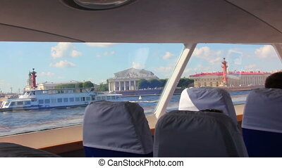 sail on Neva River in passenger boat - St. Petersburg