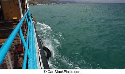 Sail on passenger ship. On board a passenger ship (Full HD).