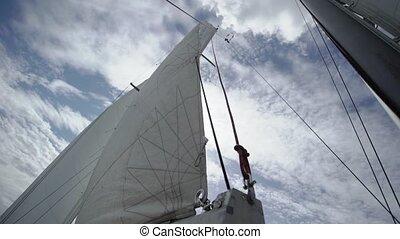 Sail on sailing yacht at windy sunny day