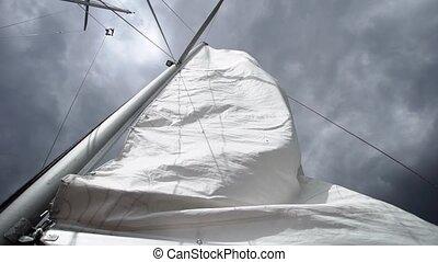 Sail on sailing yacht