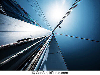 Sail over blue clear sky, abstract background, active...