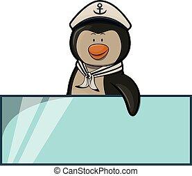 Sail penguin illustration