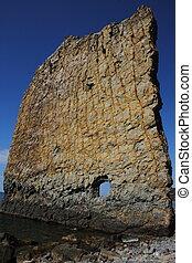 Sail rock on the coast of the Black Sea.