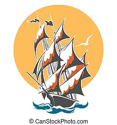 Sail Ship Colorful Emblem