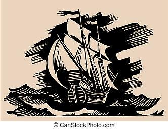 sail ship etching